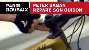 Sagan fixing his handlebars – Paris-Roubaix 2018