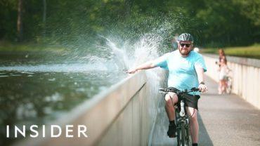 Bike Through Water In Limburg, Belgium