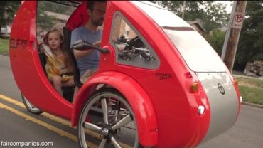ELF solar car-bike for driver + 2 kids, equals 1800 mpg